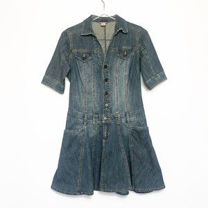 Mossimo  Denim Stretch Button Up Fit & Flare Dress